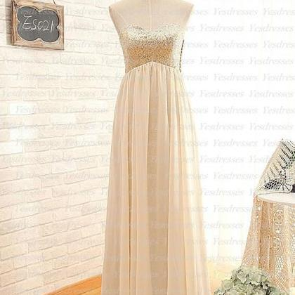 Sequin Sweetheart Floor Length Chif..