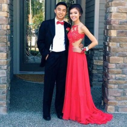 Red prom dress, long prom dress, la..