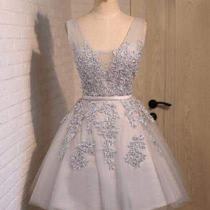 short prom dress, grey/silver prom ..