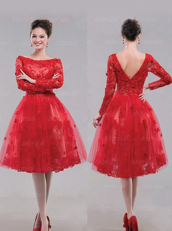 Short Prom Dress, Red Prom Dress, Long Sleeve Prom Dress, Lace ...