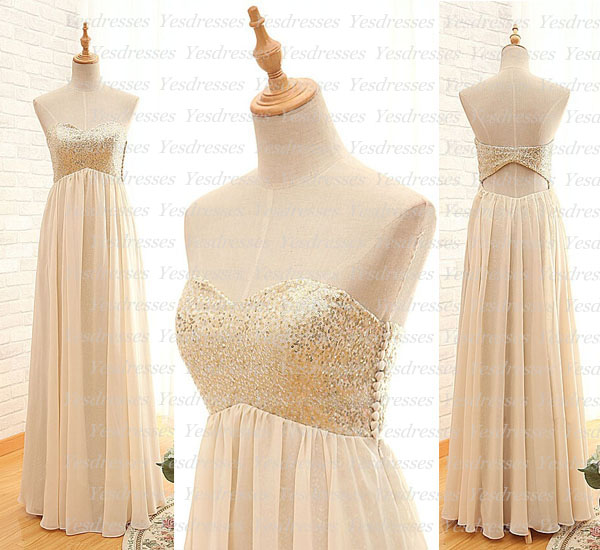 Sequin Sweetheart Floor Length Chiffon A-Line Bridesmaid Dress Featuring Open Back