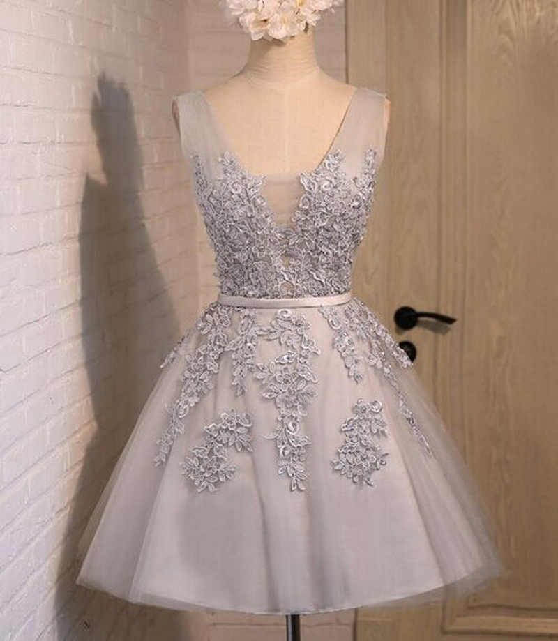 short prom dress, grey/silver prom dress, junior off shoulder homecoming dress, lovely prom dress, lace up prom dress, cheap homecoming dress with applique, homecoming dress, 155250
