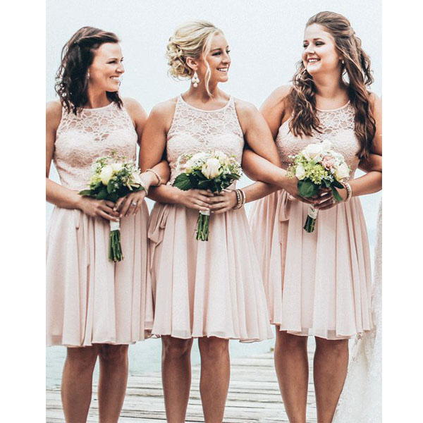 Short bridesmaid dress lace bridesmaid dress cheap for Junior wedding guest dresses for summer