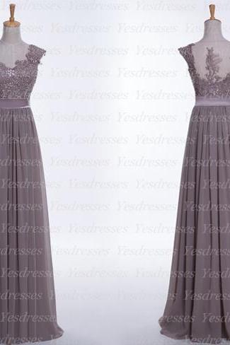 Lace Appliques Plunge V Cap Sleeves Floor Length Chiffon A-Line Bridesmaid Dress