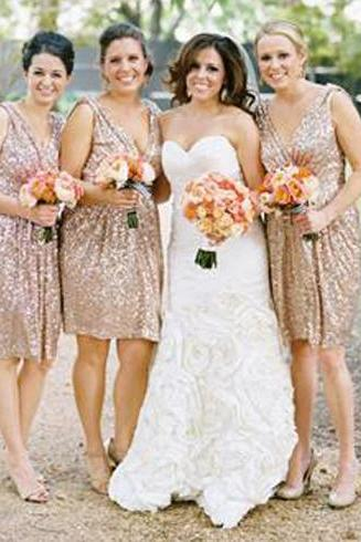 short bridesmaid dress, sequin bridesmaid dress, v-neck bridesmaid dress, best sale bridesmaid dress, off shoulder bridesmaid dress, PD15461