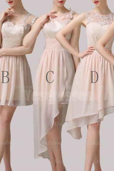 Champagne bridesmaid dresses, short bridesmaid dresses, mismatched bridesmaid dresses, simple bridesmaid dresses, cheap bridesmaid dresses, PD15033