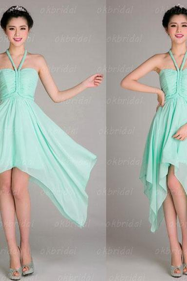 Mint bridesmaid dresses, halter bridesmaid dress, hi-lo bridesmaid dress, on sale bridesmaid dresses, custom bridesmaid dress, PD15482