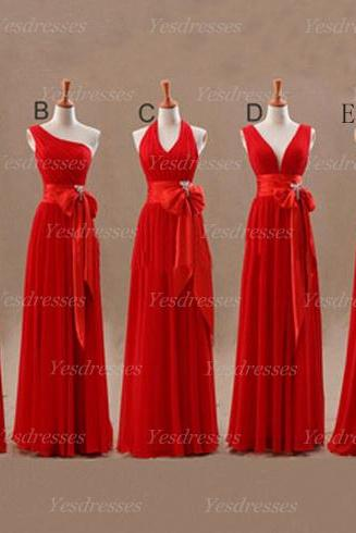 long bridesmaid dresses, custom bridesmaid dress, red prom dress, elegant prom dress, cheap prom dress, chiffon prom dress, PD15281