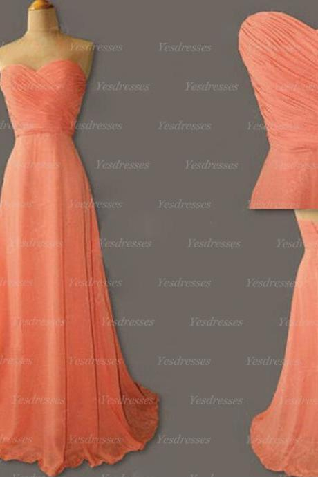 Long bridesmaid dresses, chiffon bridesmaid dress, simple bridesmaid dress, cheap bridesmaid dresses, coral bridesmaid dress, PD15184