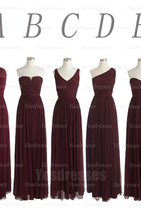 Floor-length bridesmaid dress, simple bridesmaid dress, mismatched bridesmaid dress, custom bridesmaid dress, long bridesmaid dress, PD15383