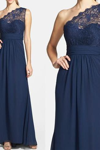 long bridesmaid dress, one shoulder bridesmaid dress, elegant bridesmaid dress, lace bridesmaid dress, formal bridesmaid dress, PD15353