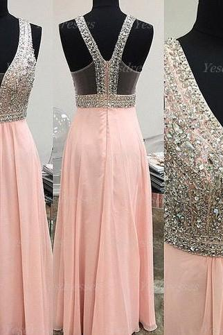 long prom dress, peach prom dress, formal prom dress, lovely prom dress, 2015 prom dress, cheap prom dress, custom prom dress, PD15384