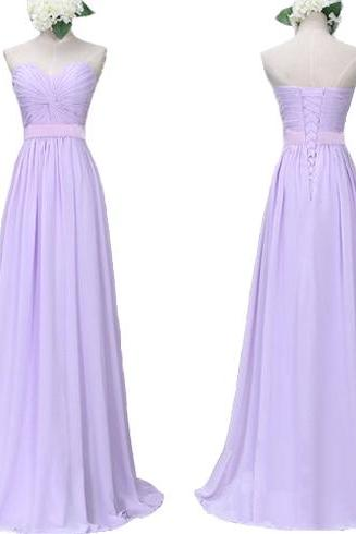 Lilac bridesmaid dress, long bridesmaid dress, lace up bridesmaid dress, cheap bridesmaid dress, chiffon bridesmaid dress, PD15411