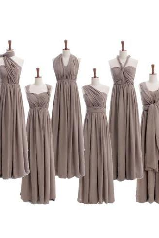 Convertible bridesmaid dress, long bridesmaid dress, grey bridesmaid dress, cheap bridesmaid dress, chiffon bridesmaid dress, PD15324