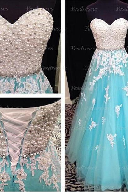 long prom dress, blue prom dress, lace up prom dress, cheap prom dress, unique prom dress, lovely prom dress, evening dress, PD15236