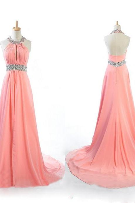 long prom dress, peach prom dress, chiffon prom dress, cheap prom dress, unique prom dress, custom prom dress, PD15230