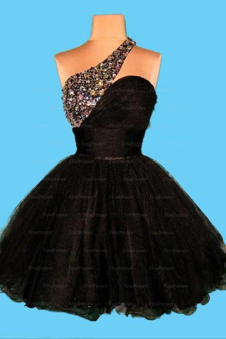 short prom dress, one shoulder prom dress, junior prom dress, black prom dress, pretty prom dress, custom prom dress, homecoming dress,PD15134