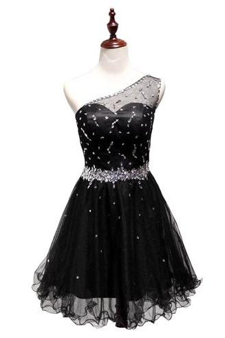 Black homecoming dress, one shoulder homecoming dress, cheap homecoming dress, simple homecoming dress, homecoming dresses, PD15129