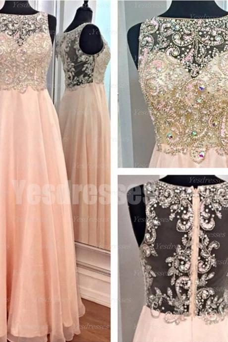 Long prom dress, rhinestone prom dress, chiffon prom dress, unique prom dress, modest prom dress, gorgeous prom dress, PD15102