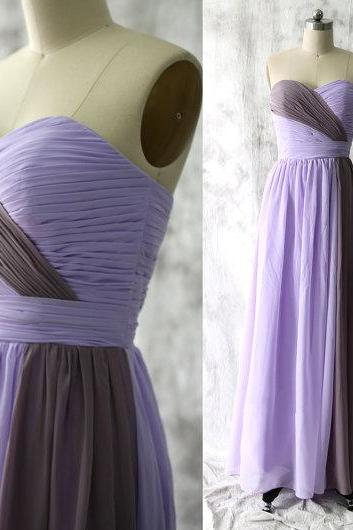 Lilac and Brown Ruched Sweetheart Neckline A-Line Long Chiffon Bridesmaid Dress
