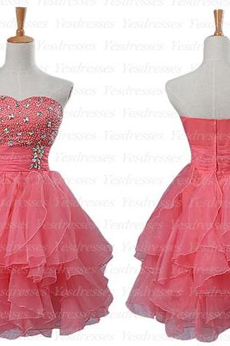 short homecoming dress, watermelon prom dress, lovely prom dress, junior homecoming dress, cheap homecoming dress, homecoming dresses, PD15101
