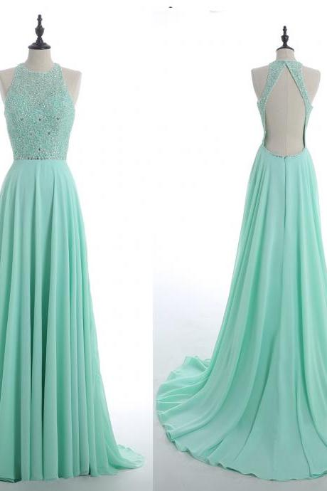 Long prom dress, mint prom dress, open back prom dress, beading prom dress, elegant prom dress, formal prom dress, PD15116