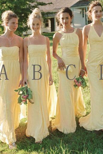 long bridesmaid dress, mismatched bridesmaid dress, cheap bridesmaid dress, chiffon bridesmaid dress, yellow bridesmaid dress, PD15097