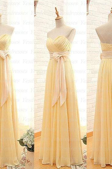 long bridesmaid dress, chiffon bridesmaid dress, sweet heart bridesmaid dress, yellow bridesmaid dress, junior bridesmaid dress, PD015317