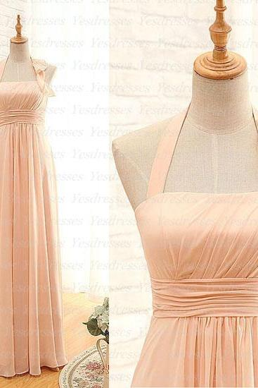 Custom Made Chiffon Halter Neck Empire Waistline Bridesmaid Dress with Ruffles
