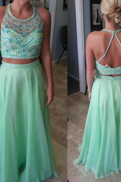 Long prom dress, two piece prom dress, green prom dress, open back prom dress, beading prom dress, popular prom dress, evening dress, PD13019