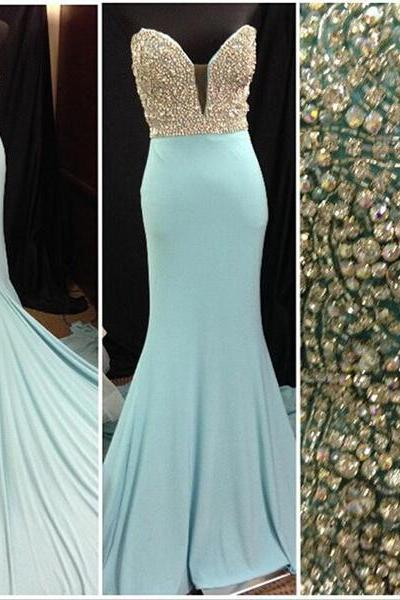 Long prom dress, blue prom dress, sweet heart prom dress, mermaid prom dress, elegant prom dress, formal prom dress, evening dress, PD13032