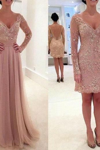 Long prom dress, two piece prom dress, v-neck prom dress, lace prom dress, formal prom dress, modest prom dress, prom dress with long sleeve, occasion dress, PD13041