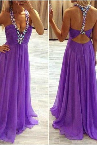 Long prom dress, purple prom dress, halter prom dress, chiffon prom dress, open back prom dress, modest prom dress, custom prom dress, women dress, PD13044