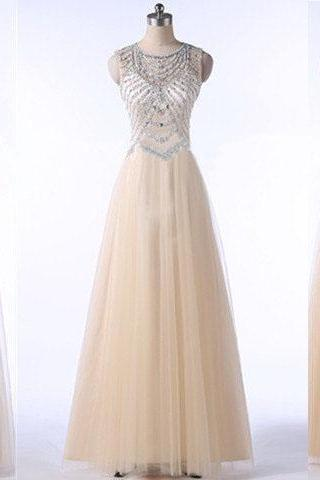 long prom dress, champagne prom dress, open back prom dress, tulle prom dress, elegant prom dress, available prom dress, evening dress, PD11095