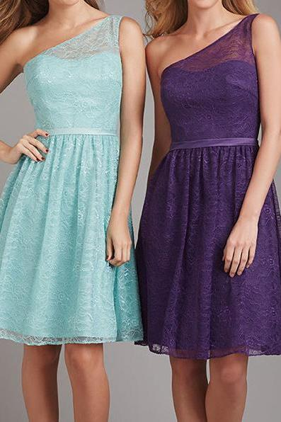 short bridesmaid dress, one shoulder bridesmaid dress, lace bridesmaid dress, occasion dress, blue bridesmaid dress, purple bridesmaid dress, BD1822