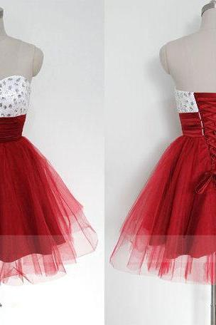 short prom dress, red prom dress, sweet heart prom dress, knee-length prom dress, lovely prom dress, lace up prom dress, occasion dress, homecoming dress, PD19103
