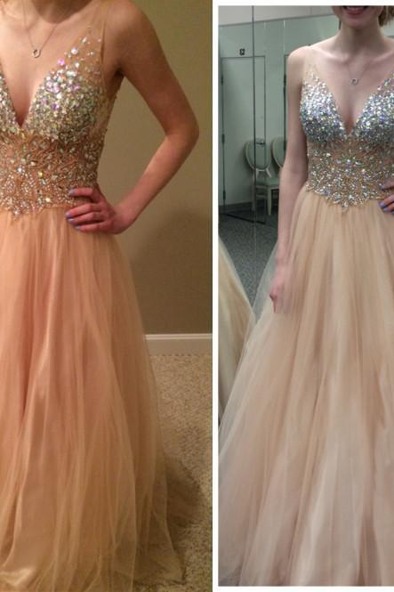 Champagne prom dress, off shoulder prom dress, v-neck prom dress, charming prom dress, sleeveless prom dress, cheap prom dress, evening dress, PD155228