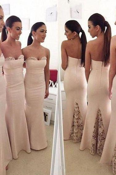 Long bridesmaid dresses, mermaid bridesmaid dresses, sweet heart bridesmaid dresses, champagne bridesmaid dress, 2016 bridesmaid dress, PD1550208