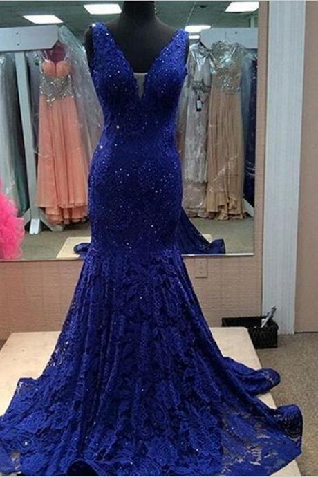 Royal blue prom dress, gorgeous prom dress, off shoulder lace prom dress, V-neck prom dress, elegant prom dress, inexpensive evening gown, mermaid prom dress, PD155233
