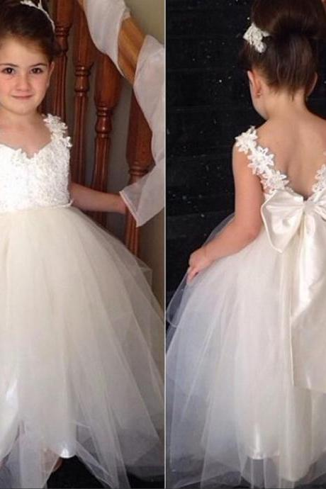 Flower girl dress, pretty flower girl dress, lovely girl dress, long flower girl dress, little girl dress, affordable flower girl dress, lace flower girl dress, tulle flower girl dress, cute flower girl dress, junior bridesmaid dress, 155280