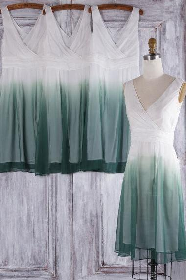Gradient bridesmaid dress, short bridesmaid dress, new bridesmaid dress, off shoulder v-neck bridesmaid dress, unique junior bridesmaid dress, short bridesmaid dress, 20393