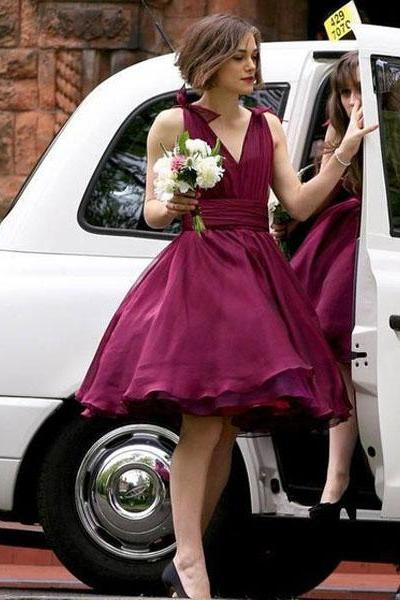 Short Bridesmaid Dresse, V-Neck Chiffon Cheap Bridesmaid Gowns, Junior Off Shoulder Birdesmaid Dress, Knee-length Bridesmaid Dress, Party Dress, 20408