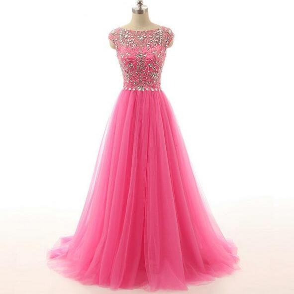Long prom dress, cap sleeve prom dress, tulle prom dress, modest prom dress, pink prom dress, formal prom dress, inexpensive prom dress, modest prom dress, PD13079