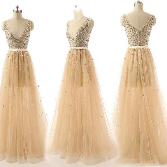 Long prom dress, champagne prom dress, tulle prom dress, off shoulder prom dress, v-neck prom dress, formal prom dress, inexpensive prom dress, modest prom dress, PD13082