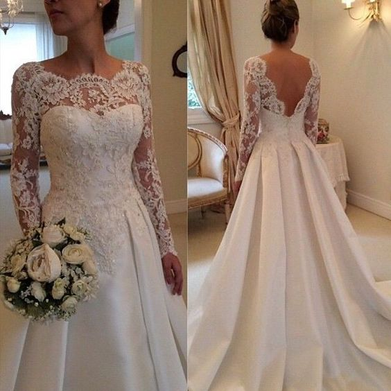 Lace wedding dress, on sale wedding dress, long sleeve wedding dress, bridal dress, long wedding dress, popular wedding dress, wedding dress, PD125170