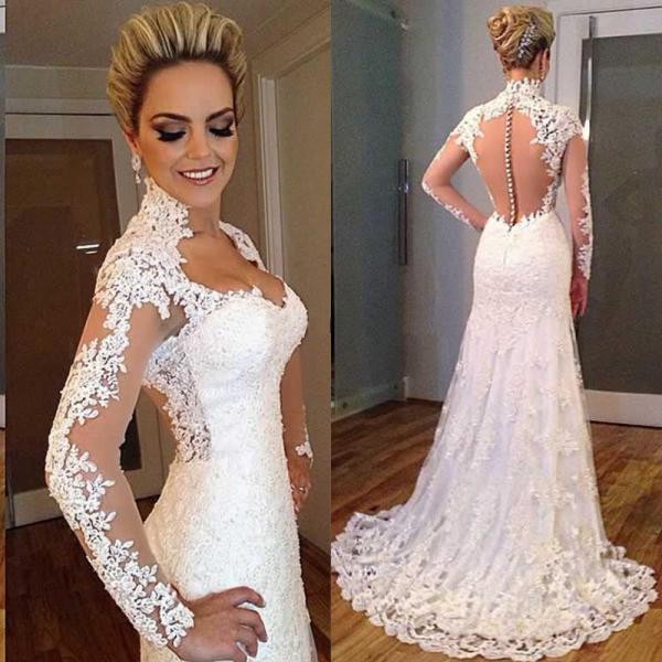Latest design wedding dress, lace wedding dress, long sleeve wedding dress, vintage wedding dress, bride wedding gown, long wedding dress, PD125171